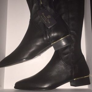 Massimo DUTTI High Knees Leather Black Color Boots